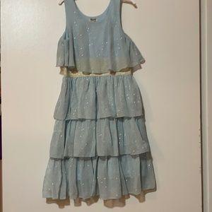 Girls light blue dress with gold dots and belt